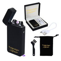 TOGETHER Electric Arc Lighter Rechargable USB Lighter Cigarette Windproof 6 Colors Eagle Scorpion Dual Arc Gadgets Coil Safe