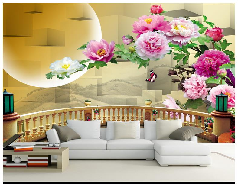 popular chinese flowers wallpaper murals-buy cheap chinese flowers