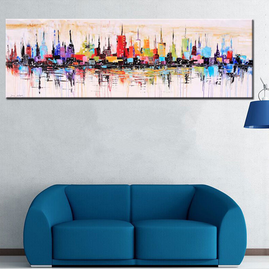 Fashion Modern Living Room Decorative Oil Painting Handpainted Large Long Canvas Picture Mirage City Landscape Abstract Wall Art In Calligraphy