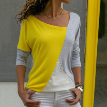 Casual contrast color stitching solid oblique collar long sleeve loose T-shirt blouse free shipping