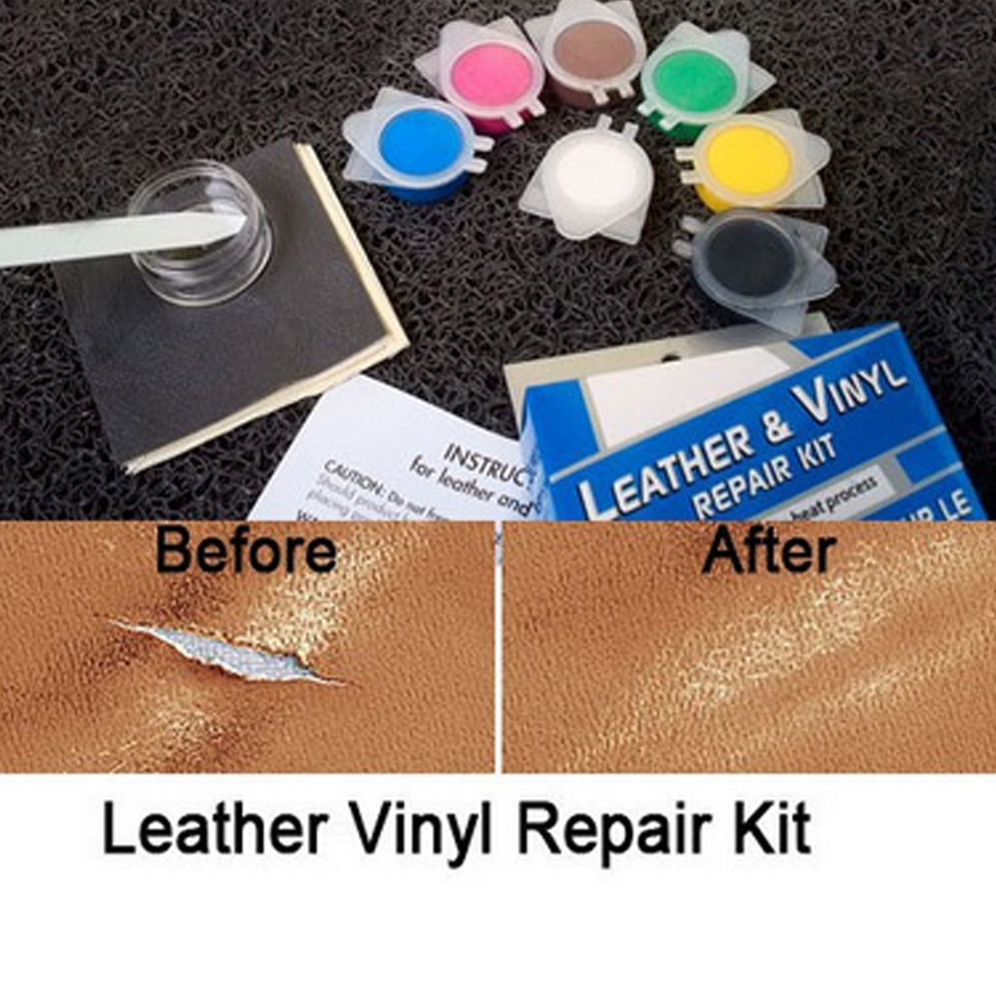 Leather Repair Tool Auto Car Seat Sofa Coats Holes Scratch Cracks Rips No Heat Liquid Leather Vinyl Repair Kit