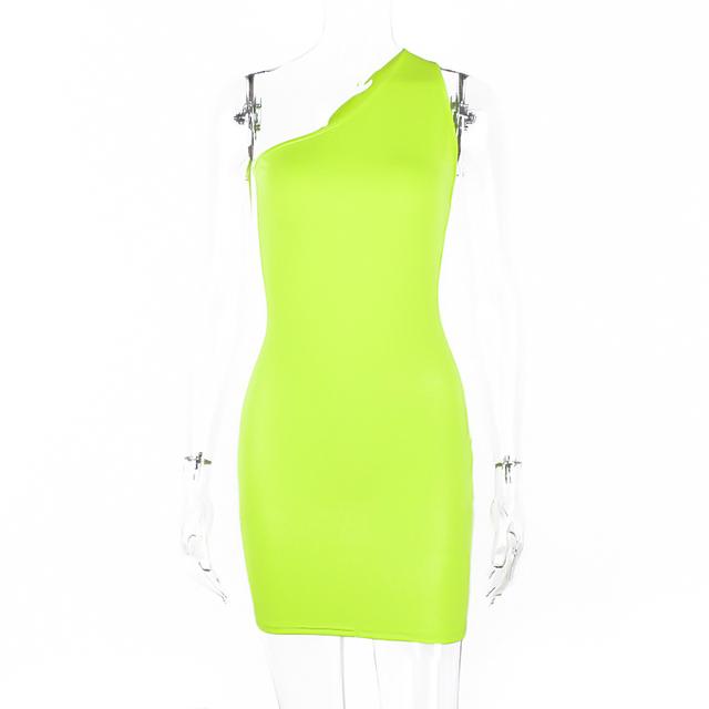 One shoulder neon orange mini summer dress