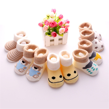 5 Pairs/Lot Cartoon Newborn Baby Girls Boys Anti-Slip Socks Infant Soft Boy Shoes Warm Winter for 0-3 Years Old