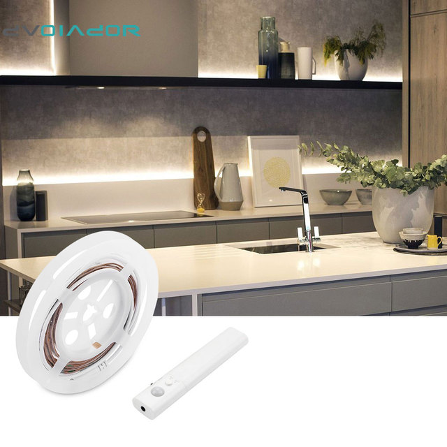 DVOLADOR 4 AAA Battery Powered LED Strip 2835 Lights Flexible Motion Sensor  Closet Light For Cabinet