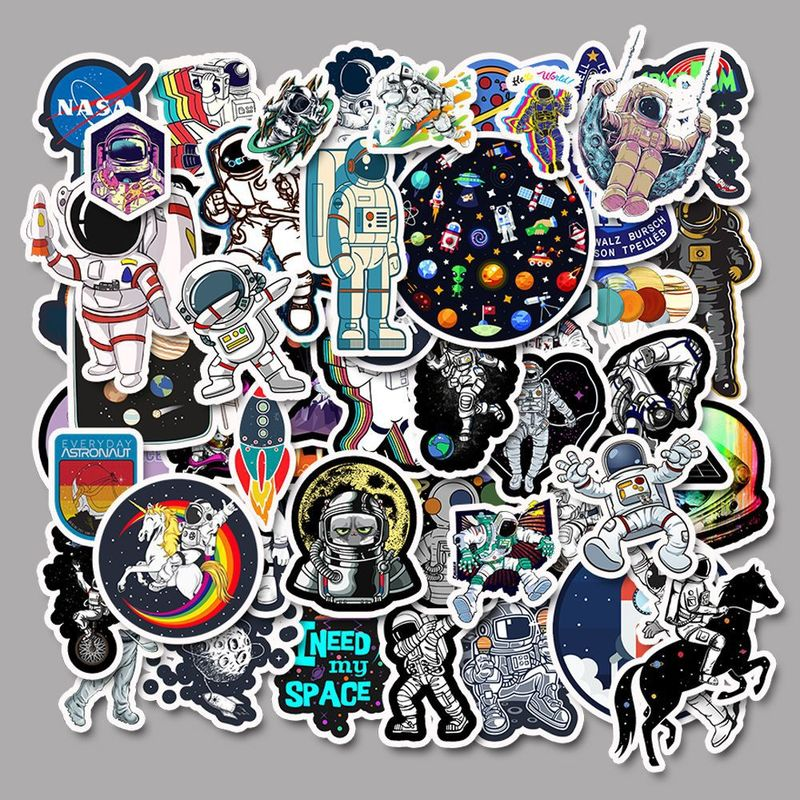 50pcs/set Outer Space Astronaut Stickers For Suitcase Skateboard Laptop Luggage Fridge Car Styling DIY Decal Sticker For Gift