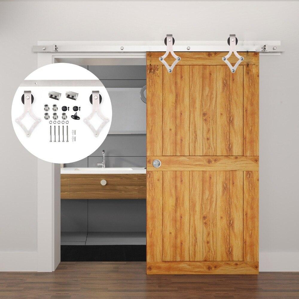 4 9 6 6 6ft Stainless steel Brushed rhombus barn door hardware for interior sliding doors