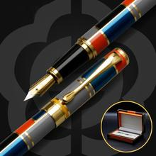 New Color Mosaic Illustration Iraurita Fountain Pen Full Metal Golden Clip Luxury Ink Pens Caneta Stationery Office Supplies