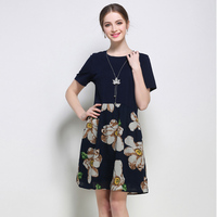 5XL Women Dresses Flower Print European Woman Plus Size Patchwork Casual Fashion Brand Summer Dress Female