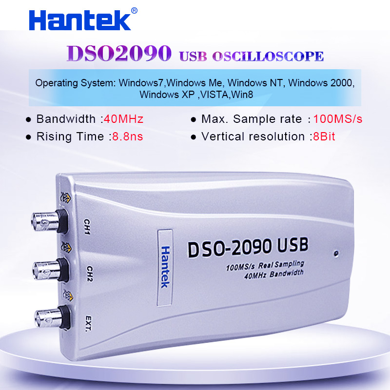 Portable Digital Oscilloscope  Hantek DSO-2090 2 Channels 40MHz Bandwidth USB PC Oscilloscope 100MS/s official and original