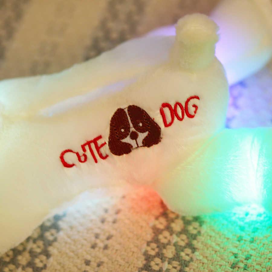 32cm boneco De Pelúcia do cão com luz LED colorido brilhante cães com bordado crianças brinquedos para crianças menina de presente de aniversário