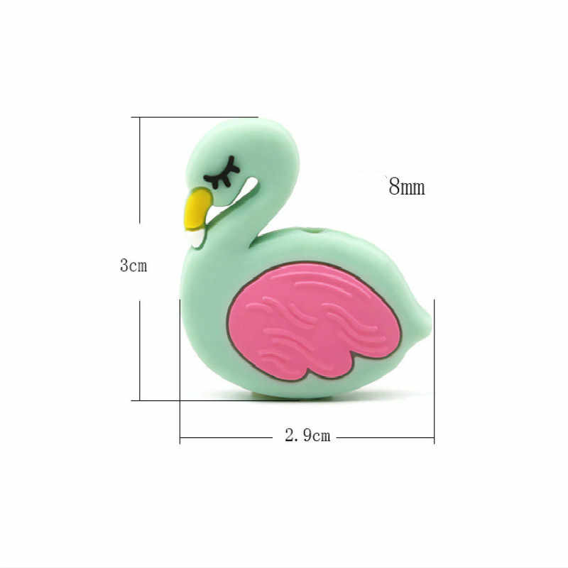 Bezpieczne dziecko silikonowe gryzaki dziecko Oral gryzaki kojący silikonowe koraliki mały rozmiar gryzak naszyjnik Flamingo BPA Free 2.9cm