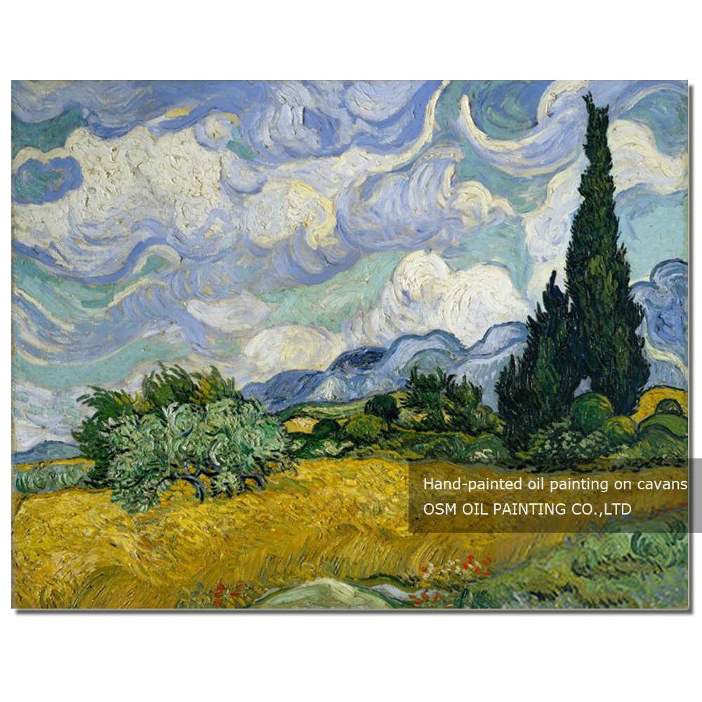 Superbe champ de blé peint à la main avec cyprès peinture à l'huile sur toile Reproduction Van Gogh Impression peinture à l'huile
