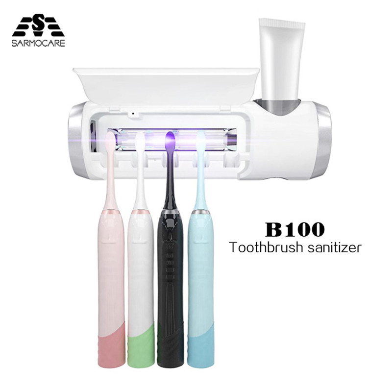 Sarmocare B100 Toothbrush sterilizer UV lamp sterilization Family Pack electric Toothbrush Head Cleaner Toothpaste Holder antibacteria uv light ultraviolet toothbrush automatic toothpaste dispenser sterilizer toothbrush holder cleaner