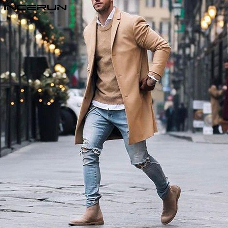 2018 Winter Mode herren Graben Lange Jacken Mäntel Klassische Jacken Solide Slim Fit Outwear Hombre INCERUN Mantel Männer Kleidung