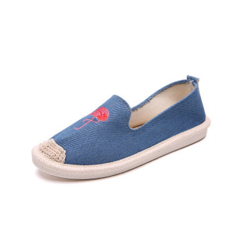 купить Litthing Blue Flamingo Embroider Comfortable Ladies Womens Casual Espadrilles Shoes Breathable Flax Hemp Canvas 2018 New по цене 504.72 рублей