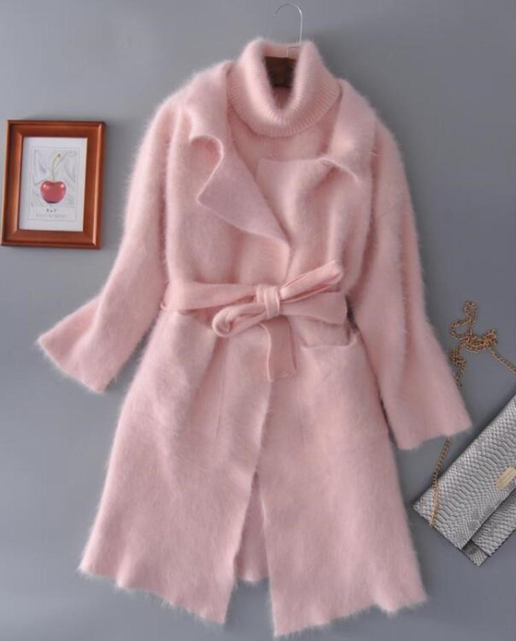 Из натуральной норки кашемировый свитер женщин кардиган вязаный жакет с длинным пальто с мехом Бесплатная доставка S111