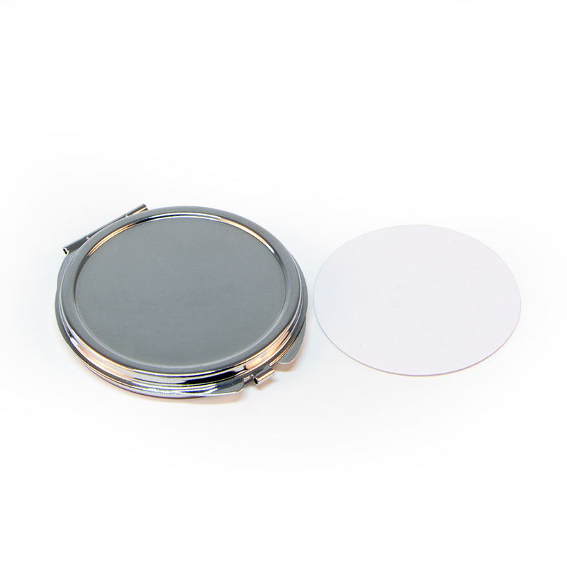Customizable Round Silver Compact Mirror Metal Engraved Flower Pattern Compact Mirror Favors + Sublimation panel 5 pices/Lot-in Makeup Mirrors from Beauty & Health    1
