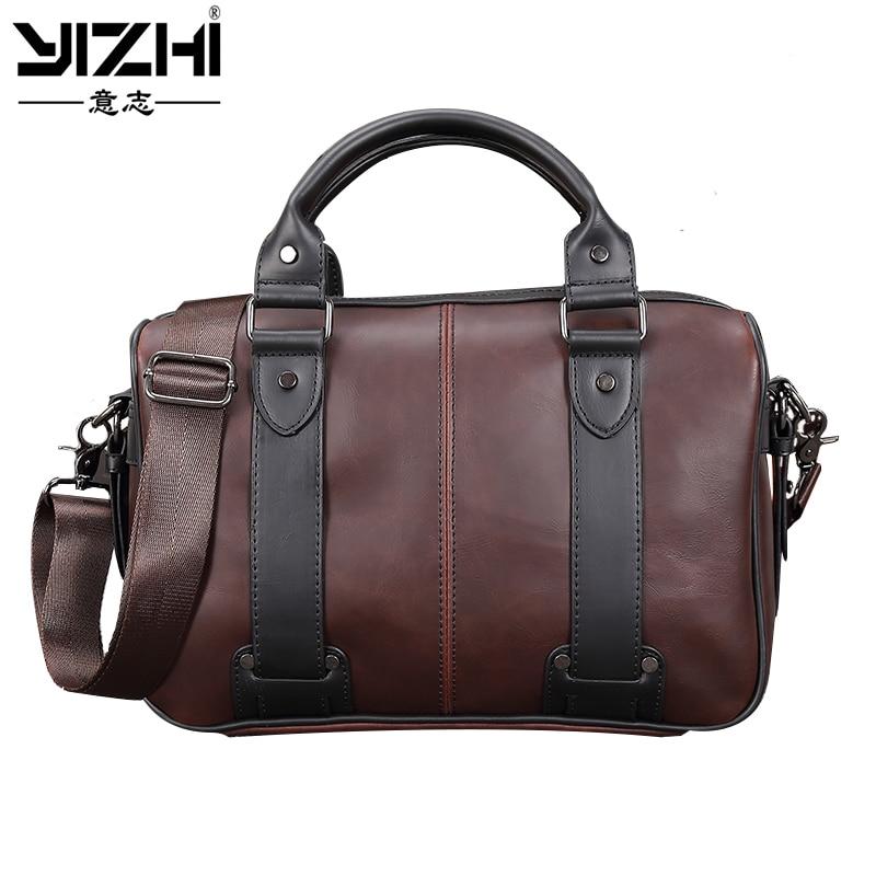 Inch, Business, Shoulder, Handbag, Brown, YIZHI