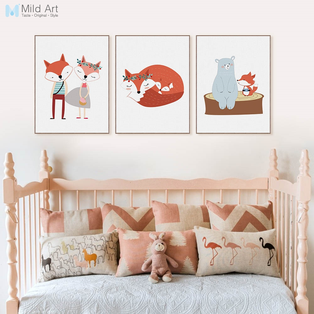 US $18.18 18% OFFModern Cute Cartoon Animal Fox Bear Friend Poster Nordic  Kids Baby Room Wall Art Print Picture Home Deco Canvas Paining No