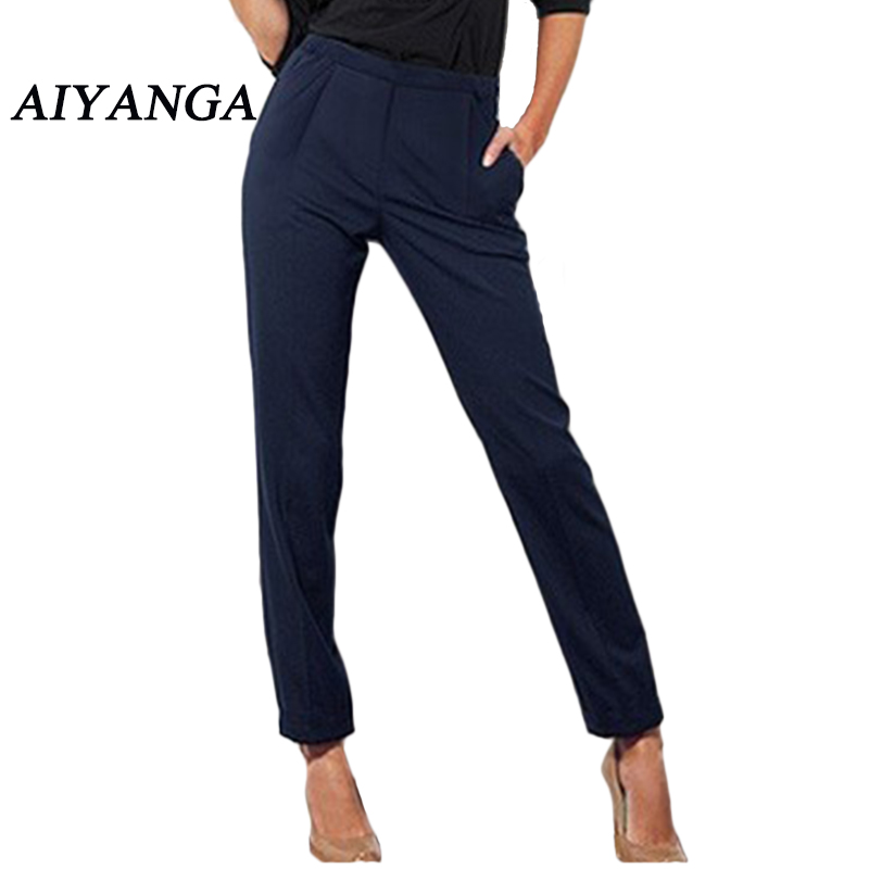 Alice Eileen's store AIYANGA 2017 Office Lady Summer Fashion Candy Color Elastic Waist Trousers Women Slim Casual Harem Pants S-XXL