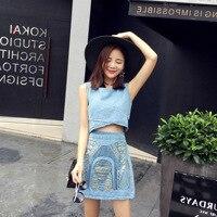 2018 Korean Version of Women's Sleeveless Jeans Corp Top Vest Tank Suits High Waist Slim Hip Half Skirts Two Piece Denim Sets
