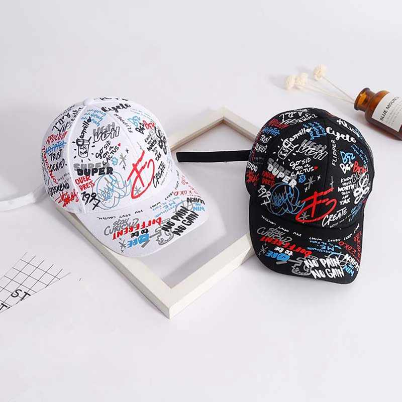 Baseball Cap Men Women Colorful Graffiti Printed Polyester Cotton Hat Headwear Outdoor Sports Wear With Adjustable Back Closure