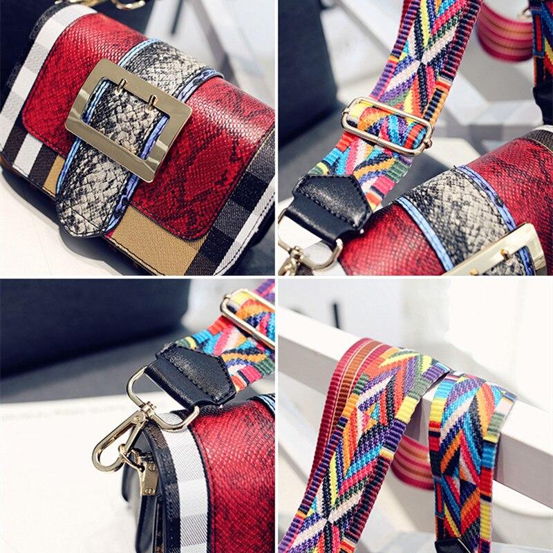 Fashion Color Patchwork Women Famous Brand Leather Handbag Wide Colorful Strap Shoulder Bag Purse Crossbody Bag Peekaboo Bag