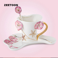 280ml European Style Simple Flower Ceramics Porcelain Mug Coffee Cup Set With Saucer Kit Creative Afternoon