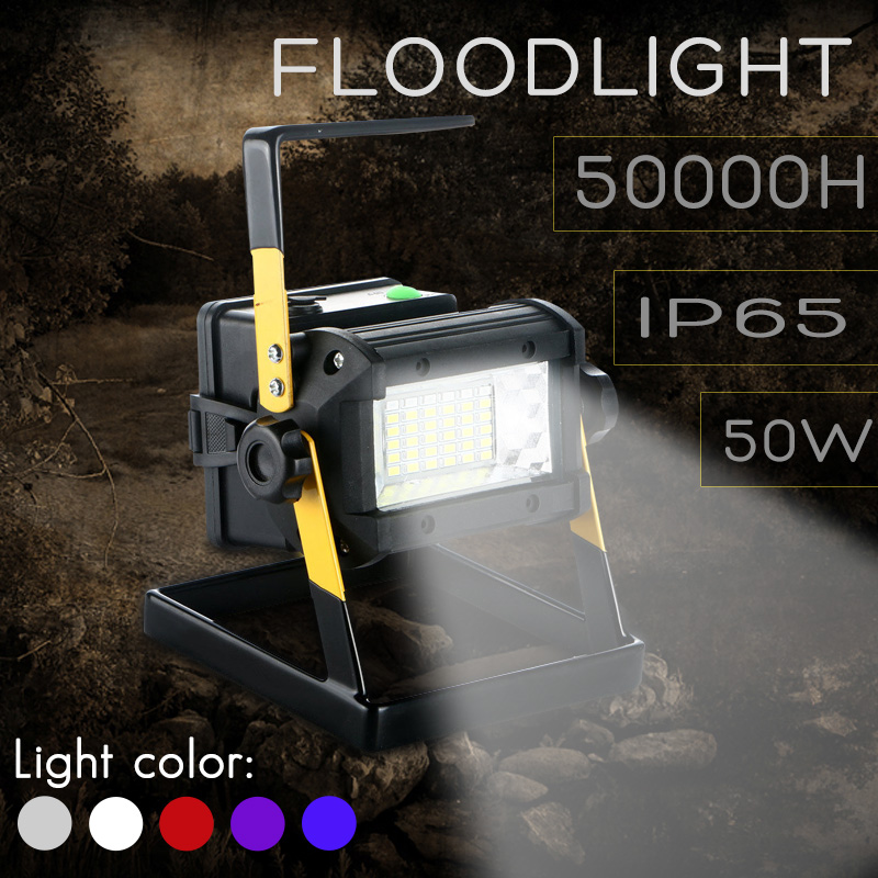 50W 36LED LED Portable Searching Light 2400LM Spotlight Flood Spot Work Light for Outdoor Camping Lamp With Charger rechargeable floodlight 20w 36 led lamp portable 2400lm spotlight flood spot work light for outdoor camping lamps with charger