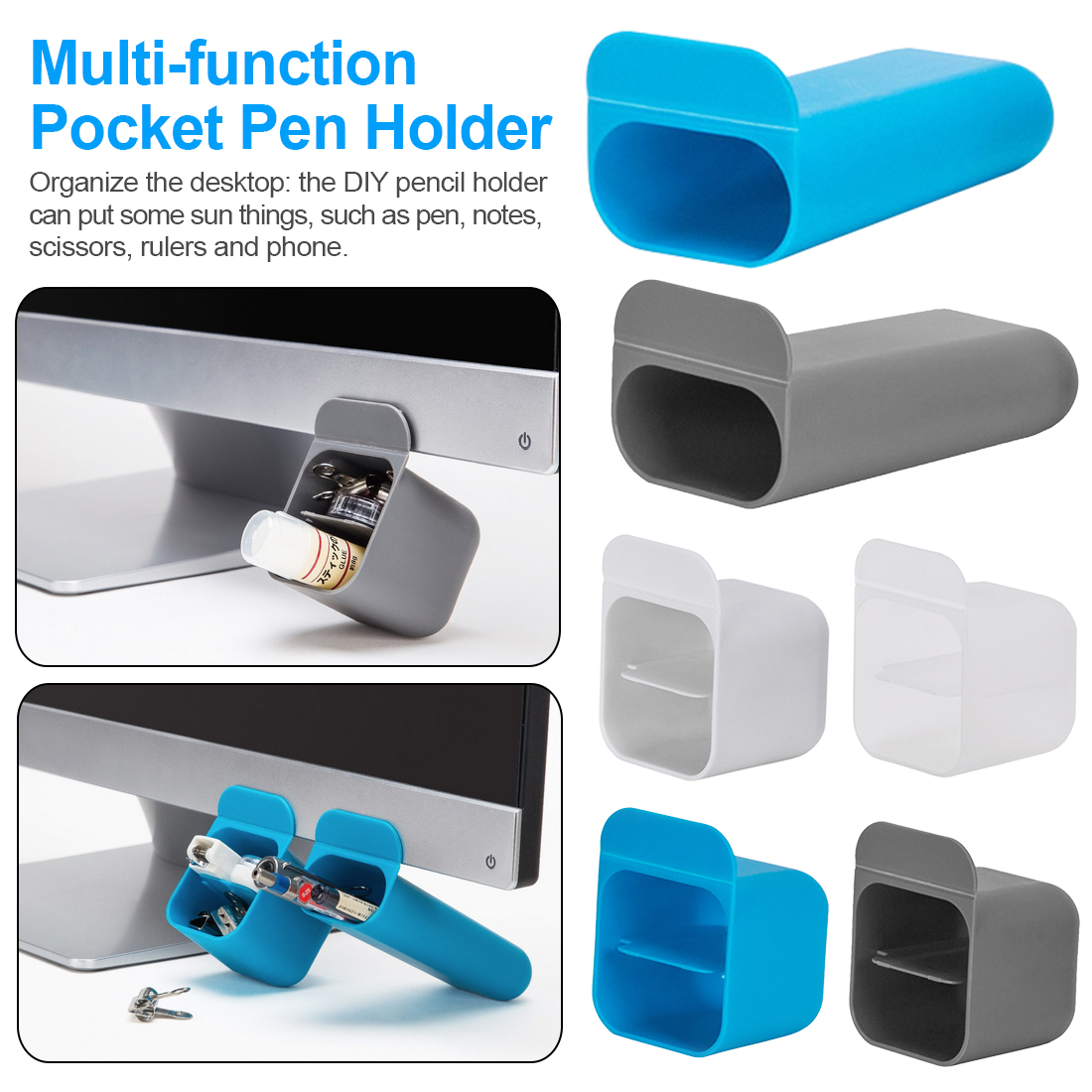 Multi Functional Desktop Display Pocket Pen Holder Desk Stationery Pen Receipt Box