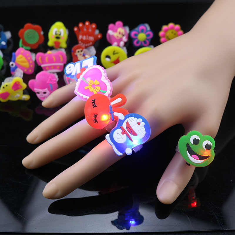 5pc/set glowing Cartoon Rings Small Gifts Flash Rings Glowing Finger Lights funny  gift holiday decoration