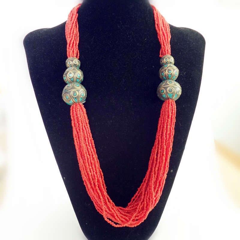 TNL594 Tibétain Collier Rouge Mini Perles Collier Tibet Népal Colliers