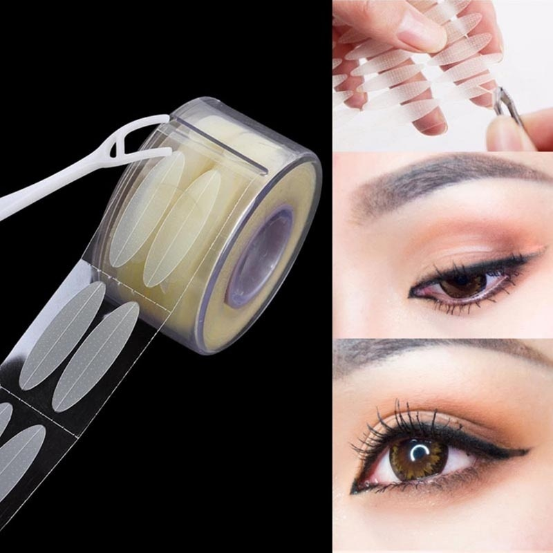 600pcs L Invisible Double Fold Eyelid Clear Beige Mesh Eyelid Stripe Big Eye Decoration Shadow Sticker Eyelid Tape Makeup Tools