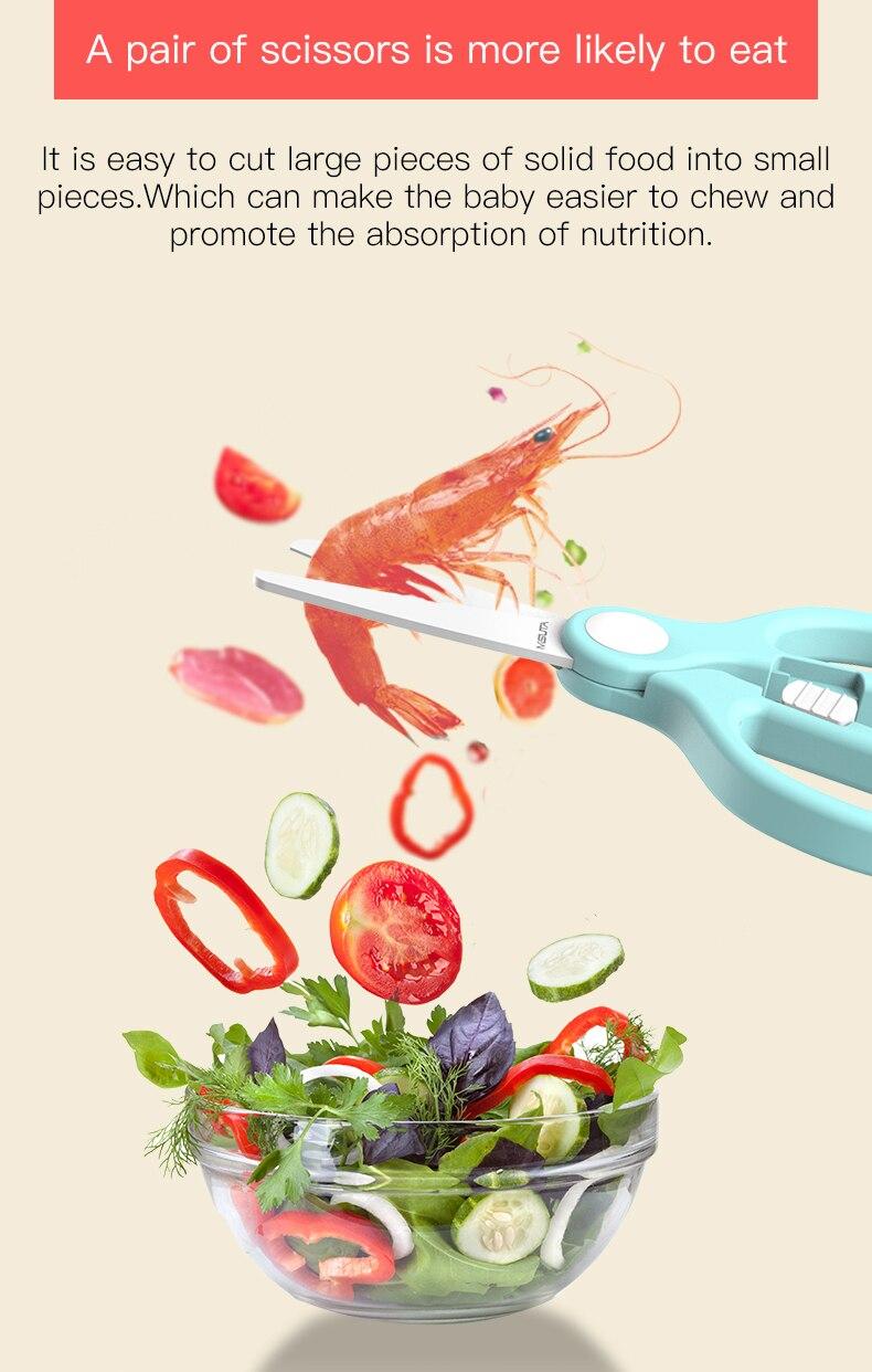 Bebê cerâmico tesouras de alimentos vegetais noddles