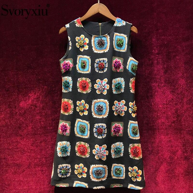 Kadın Giyim'ten Elbiseler'de Svoryxiu kadın Yaz Pist Eski Baskı küçük Siyah Elbise Moda Kristal Elmas Bayanlar lüks Parti Kolsuz Elbiseler'da  Grup 1