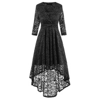 HeyGalSing High Quality Women Elegant V Neck Party Lace Dress Asymmetrical Hem Short Front Long Back