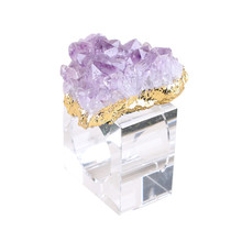1PC Napkin Ring With Natural Amethyst Stones High Grade Wedding Event Party Decoration Crafts Holder Glass