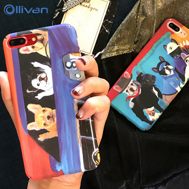 OLLIVAN Cute Cartoon Animal Lovely Dog Case For iPhone 6S 7 8 PLus 6 s X Cases Funny Bus Dog Puppy Cover For iPhone 6 6s Plus