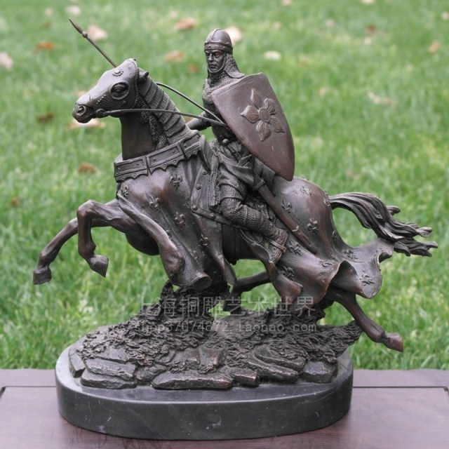 Knight bronze horse copper sculpture handicraft decoration decoration Home Furnishing Shanghai sculpture art world in Statues Sculptures from Home Garden