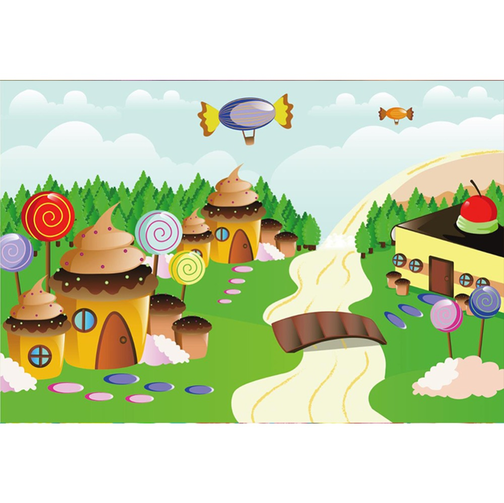 Laeacco Dreamy Candy Lollipops Ice Cream House Tree Cartoon Party Portrait Photography Backdrops Photo Backgrounds Studio