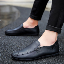 New spring and summer peas shoes mens casual lazy leather set foot