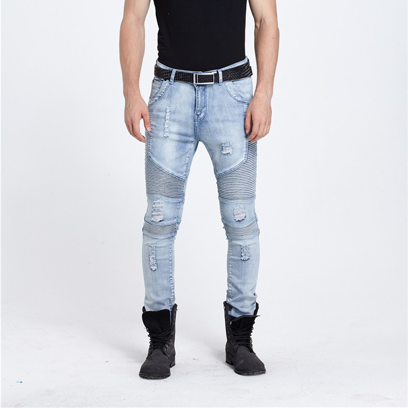 European Style 2016 New Mens Ripped Fold Biker Jeans Male Fashion Slim Blue Elastic Moto Jeans For Men Straight Hole Denim Pants 2017 fashion patch jeans men slim straight denim jeans ripped trousers new famous brand biker jeans logo mens zipper jeans 604