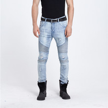 European Style 2016 New Mens Ripped Fold Biker Jeans Male Fashion Slim Blue Elastic Moto Jeans For Men Straight Hole Denim Pants