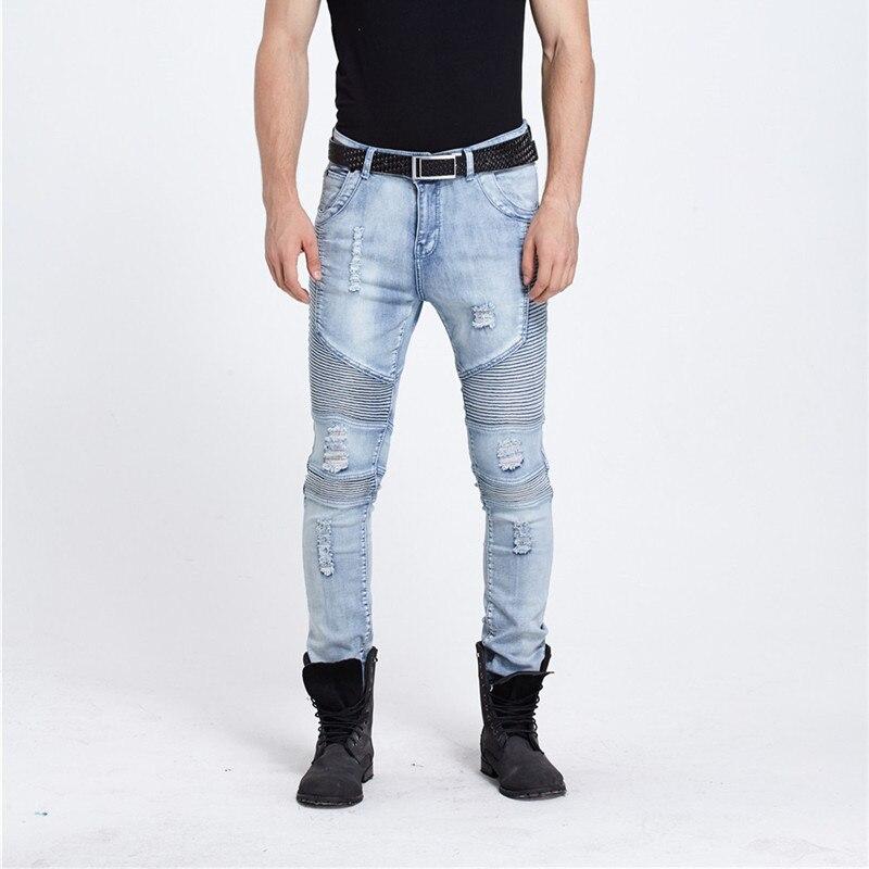 European Style 2017 New Mens Ripped Fold Biker Jeans Male Fashion Slim Blue Elastic Moto Jeans For Men Straight Hole Denim Pants 2017 fashion patch jeans men slim straight denim jeans ripped trousers new famous brand biker jeans logo mens zipper jeans 604