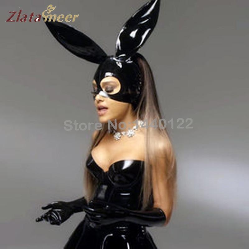 sexig svart latex kaninkasmask för unisex fetish gummi partshuvud - Maskeradkläder och utklädnad