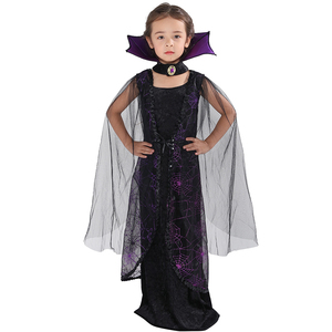 Image 2 - Eraspooky 2018 Purple Spider Vampire Cosplay Girls Halloween costume for kids Lace Cape Long Dress Carnival Party Queen Collar