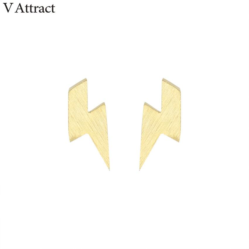 V Attract Vintage Jewelry Stainless Steel Punk Thunder Pendientes Hombre Rose Gold Lightning Bolt Stud Earrings For Women Men