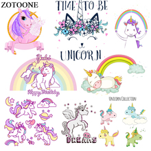 ZOTOONE Iron On Cartoon Unicorn Patches Set Heat Transfers For Clothes Diy Child T-shirt lLetter Patch Transfer Stickers E