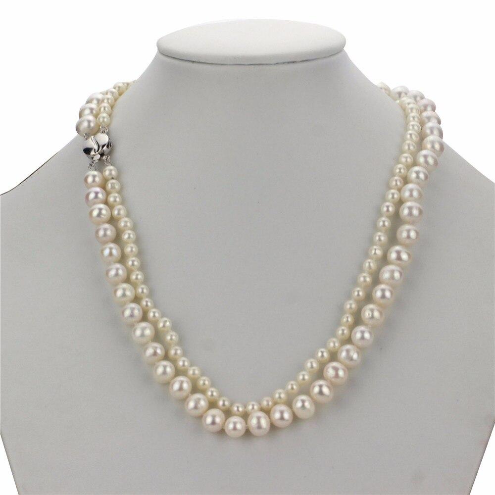 Snh aa 5mm et 7.5-8.5mm deux rangées 100% 925 fermoir en argent sterling réel véritable culture près ronde naturelle d'eau douce collier de perles