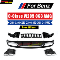 W205 Rear Diffuser with 4 outlet Exhaust Tips Endpipe AMG Style For Mercedes Benz W205 2 Door C180 C200 C250 C300 C350 2015 in